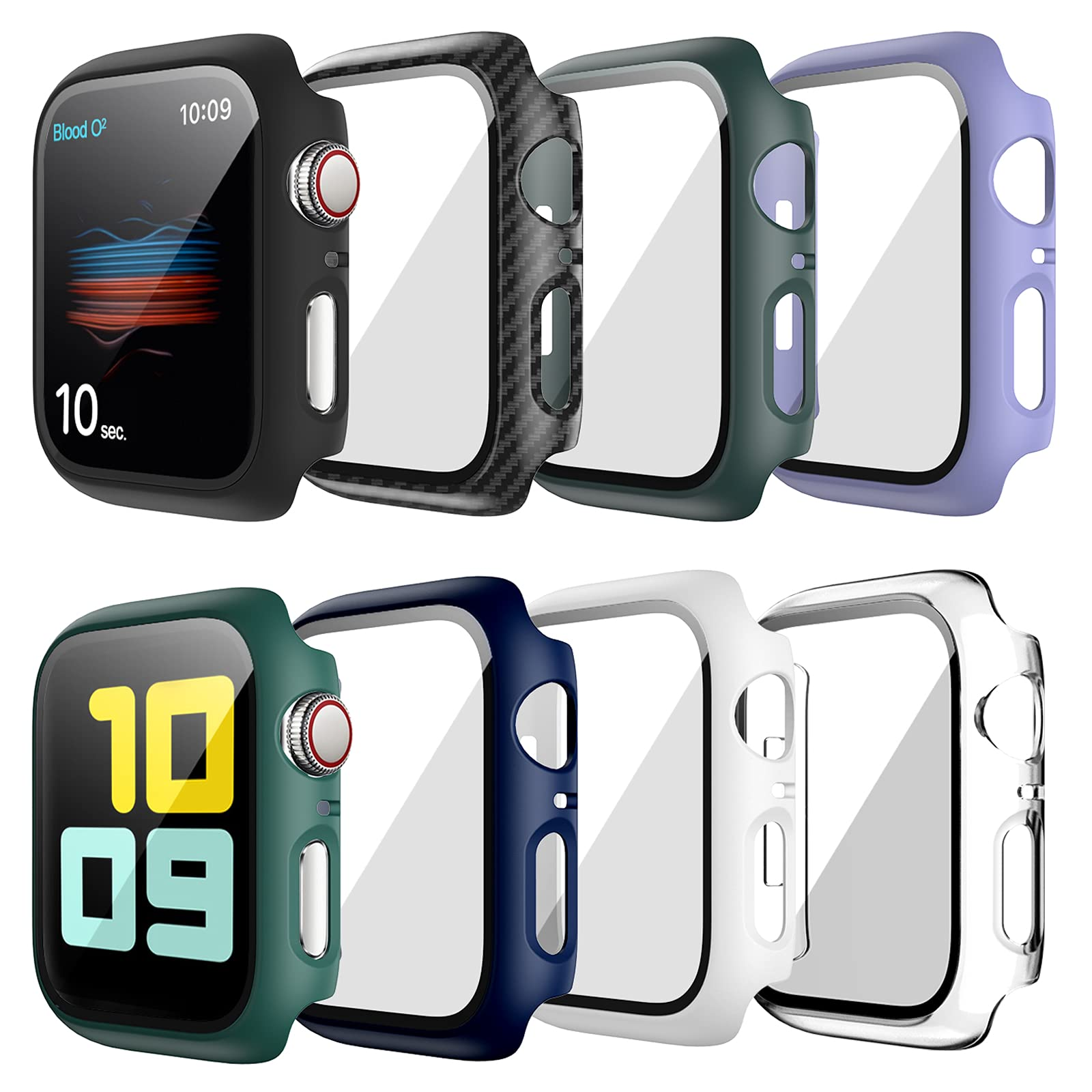 8 Pack Hard Case Compatible for Apple Watch Series 6 40mm SE