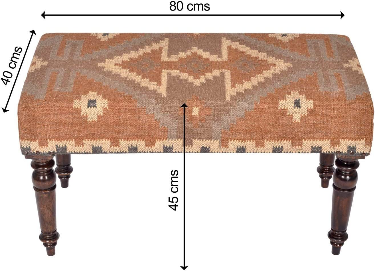 HOMESCAPES Upholstered Kilim Bench Footstool or Rectangular Coffee Table Red Handmade Solid Wood Frame with Traditional Hand woven Wool Rug Cover