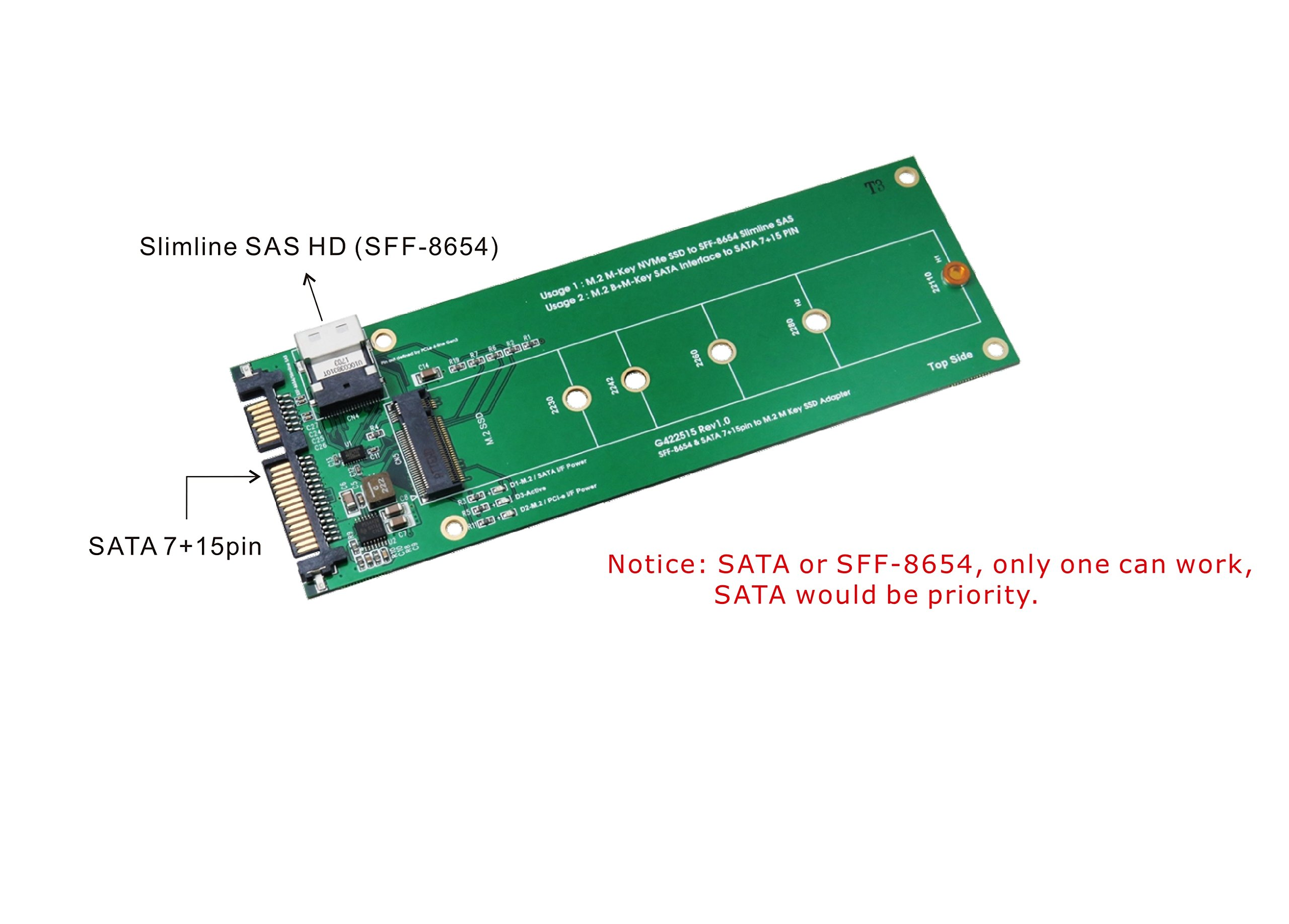 Slimline SAS (SFF-8654) and SATA to M.2 SSD Adapter