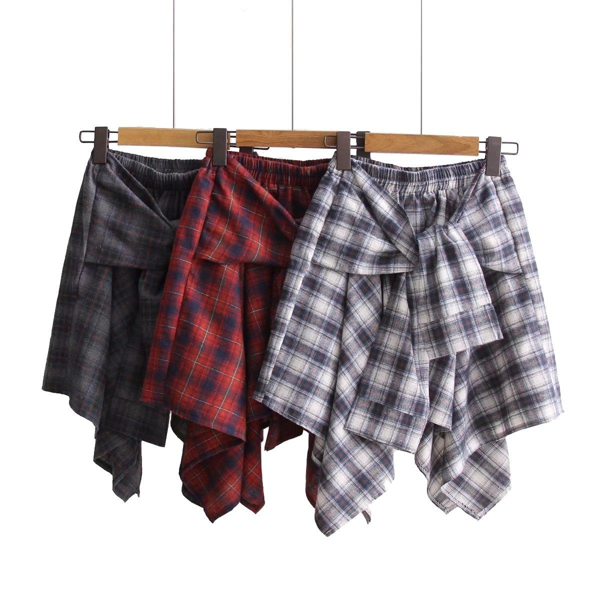 c6028e3b13a2f MolVee Women's Elastic Waist Plaid School Skirt Casual Skater Skirt