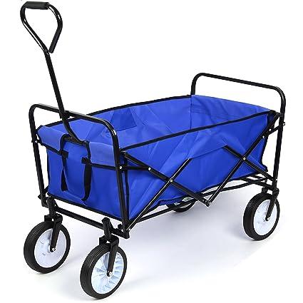 HOMFA Carro Plegable de Mano Carro transporte para jardín Carro para playa Carga 80kg (Azul