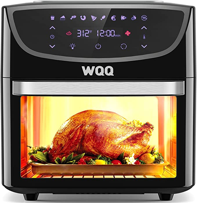 Air Fryer Oven, WQQ 20 Quart Air Fryer Oven Combo, 1800W Toaster Oven, 10 in 1 Multi-Functional Large Oilless Cooker with 360° Air Circulation / LED Digital Touch Screen / 9 Accessories, ETL Certified