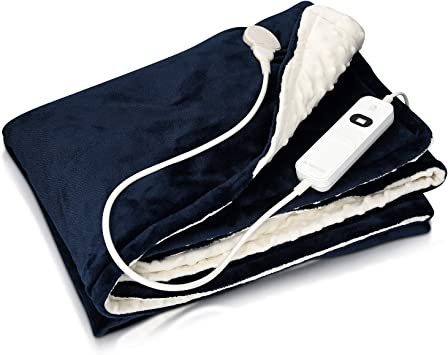Navaris Manta eléctrica con termostato - Colcha XXL lavable 180 x 130 CM - Manta térmica con regulador de temperatura 3 niveles - Azul oscuro blanco: Amazon.es: Salud y cuidado personal