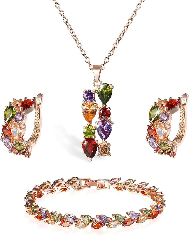 Aroncent 4PCS Joyería Mujer Juego de Pulsera Collar Pendientes con Circonita Multicolor Forma de Trigo Elegante Moda Original Regalo para Pareja Amor Infinito San Valentín, Rosa Oro