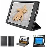 Mulbess - Gigaset QV 830 8 Zoll CleverStrap Leder Tasche Hülle Case - Premium Tablet-PC Schutzhülle Case Tasche Etui Sleeve Cover mit Easy Standfunktion Farbe Schwarz