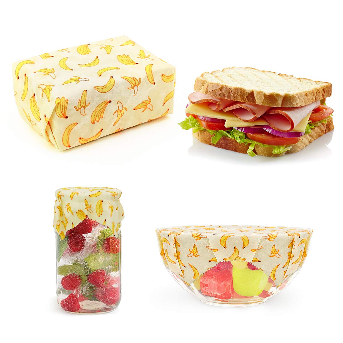 Hsicily Reusable Food Wraps, Eco Friendly Beeswax Wraps Sustainable Plastic Free Food Storage 3 Pcs, for Sandwiches Extra Mesh Produce Bags, Breathable Wraps Handmade, Non-Toxic & Biodegradable