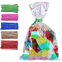 100 Pack Iridescent Holographic Cellophane Party Favor Treat Bags with 5 Colors Twist Ties Good for Themed Celebrations Baby Showers Weddings Girls Birthday Party Supplies