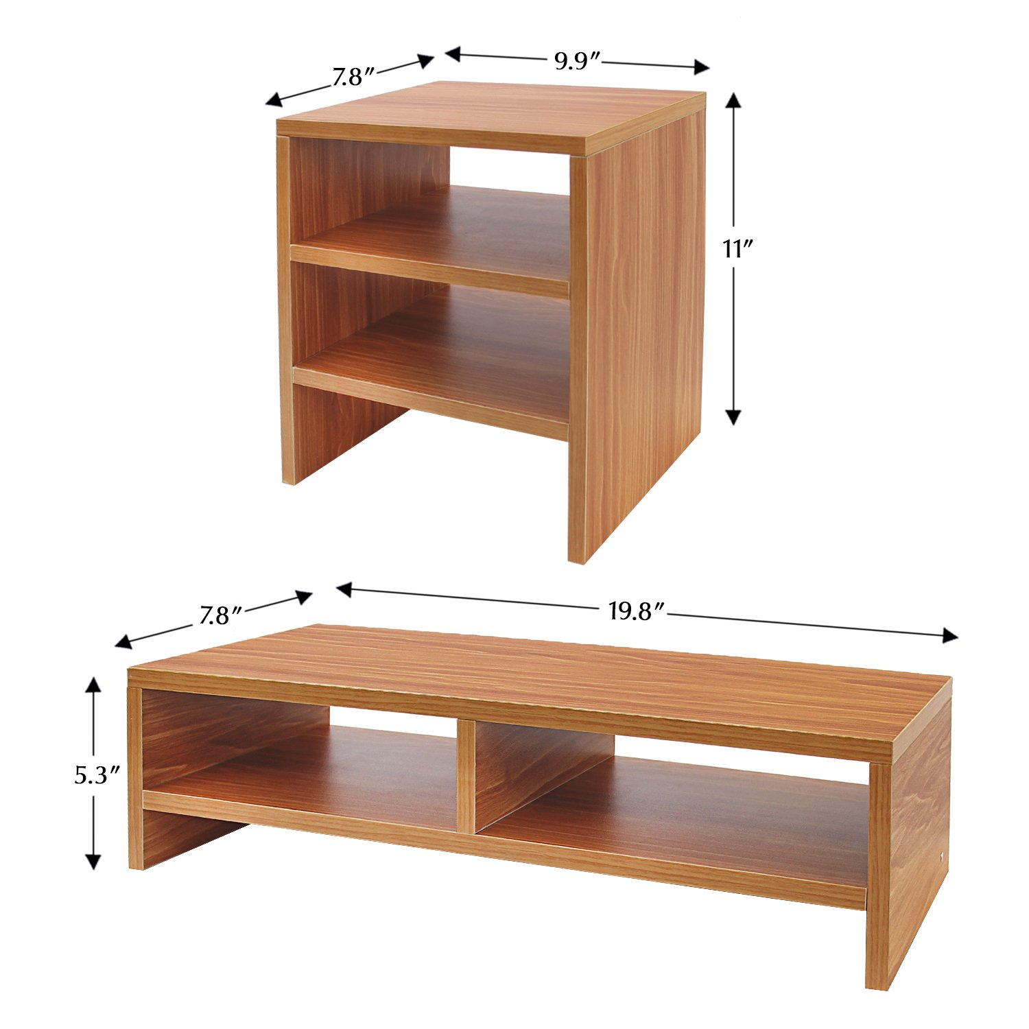 Jerry & Maggie - Wood Monitor Stand - 2 Parts Combination - Modern Dresser Shelf Unit Storage Desk Organizer Computer Stand Shelving - 2 Parts Multi Function Natural Wood Tone