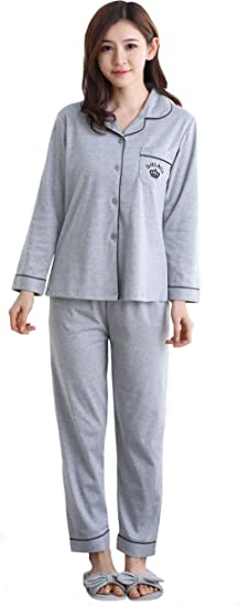 SHEKINI Set de Pijama Camisero Largo de Algodón para Mujer, Conjunto de Pijama Clásico Mujer Camisa de Manga Larga y Pantalón Largo, Conjunto de Ropa de Dormir