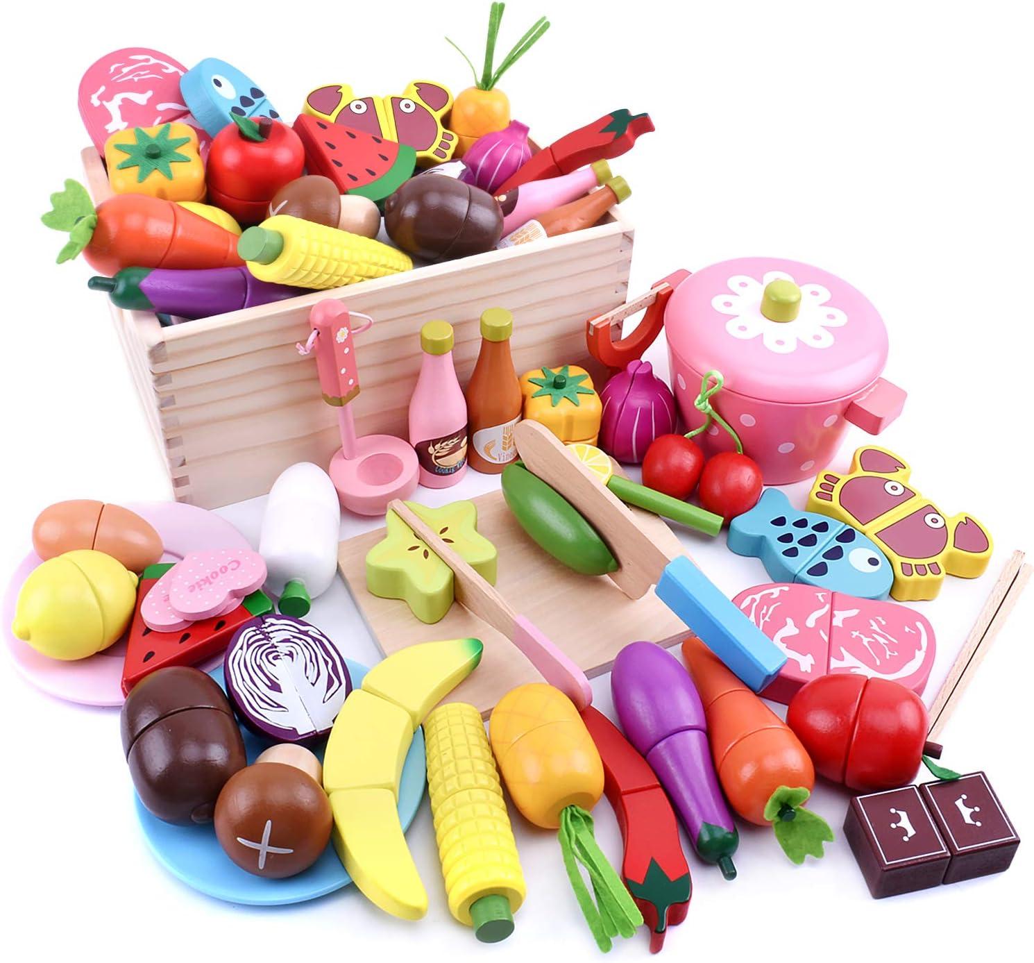 Ansoro おままごとセット 木製 磁石 厨房おもちゃ 食品衛生法検査済 37種セット 100%天然素材
