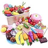Ansoro おままごとセット 木製 マグネット キッチン おもちゃ 食品衛生法検査済 37種セット 100%天然素材