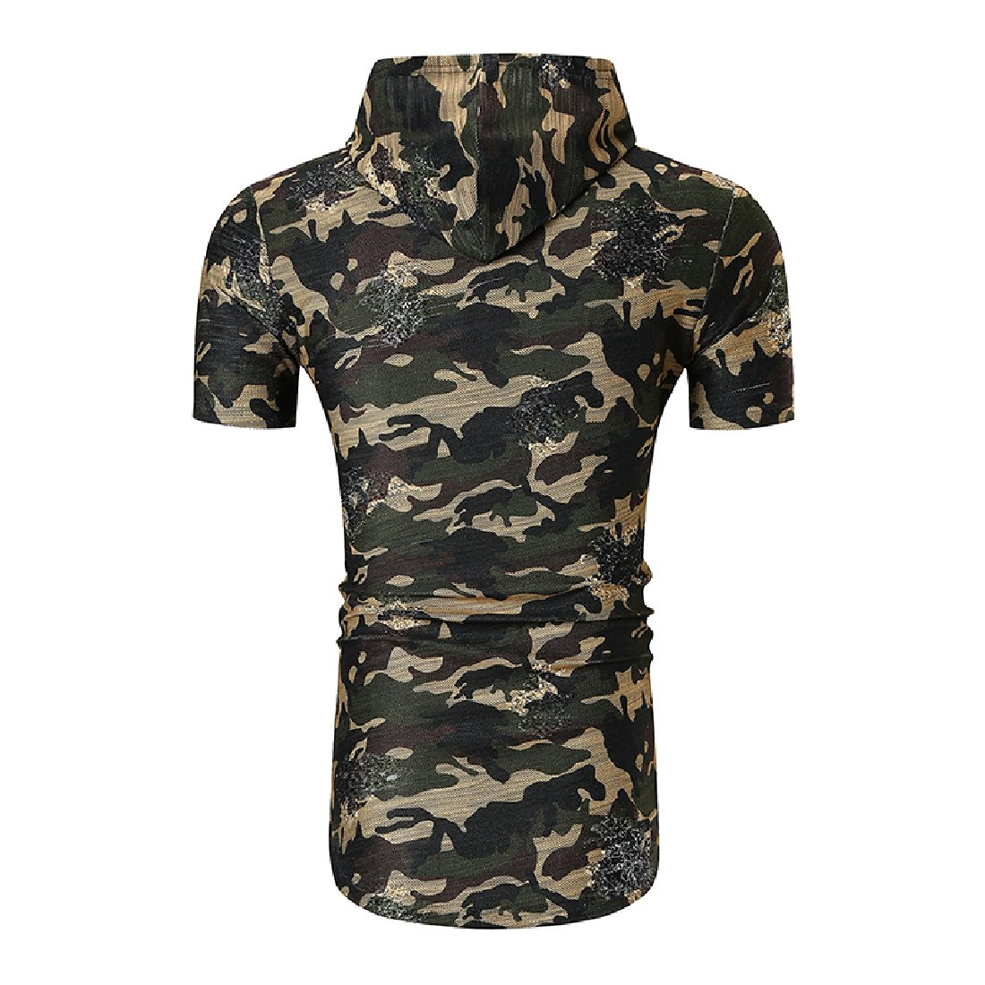 Aooword Mens Curved Hem Short Sleeve Ripped Camo T-Shirts with Hood