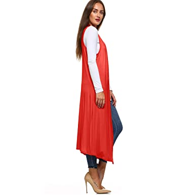4b84ab0082806 Isaac Liev Women s Sleeveless Lightweight Duster Vest at Amazon Women s  Clothing store