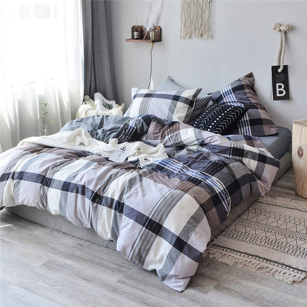 4 Piece 100% Washed Cotton Reversible Solid Duvet Cover Set, Preppy Chic College Style TartanStripe Bedding Set, Wrinkle Resistant, Comfortable, Breathable Premium Hotel Quality (Blue Tartan, Queen)
