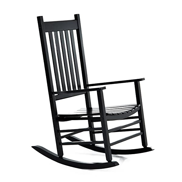 Outsunny Versatile Wooden Indoor/Outdoor High Back Slat Rocking Chair - Black