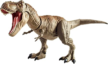 Jurassic World Bite 'n Fight Tyrannosaurus Rex in Larger Size with Realistic Sculpting, Articulation and Dual-Button Activation for Tail Strike and Head Strikes, Ages 4 and Older