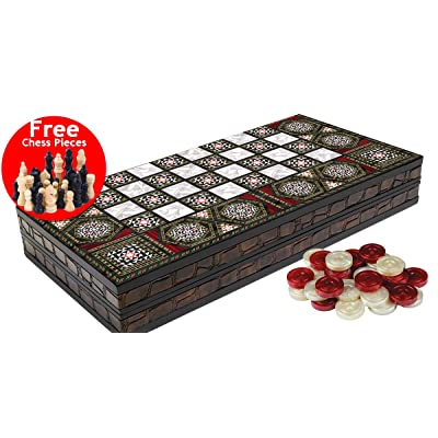 Black Star Leather Edge Coating Backgammon and Chess Set Turkish Premium Board Game Set - Special Series , Leather Edge Coating: Toys & Games