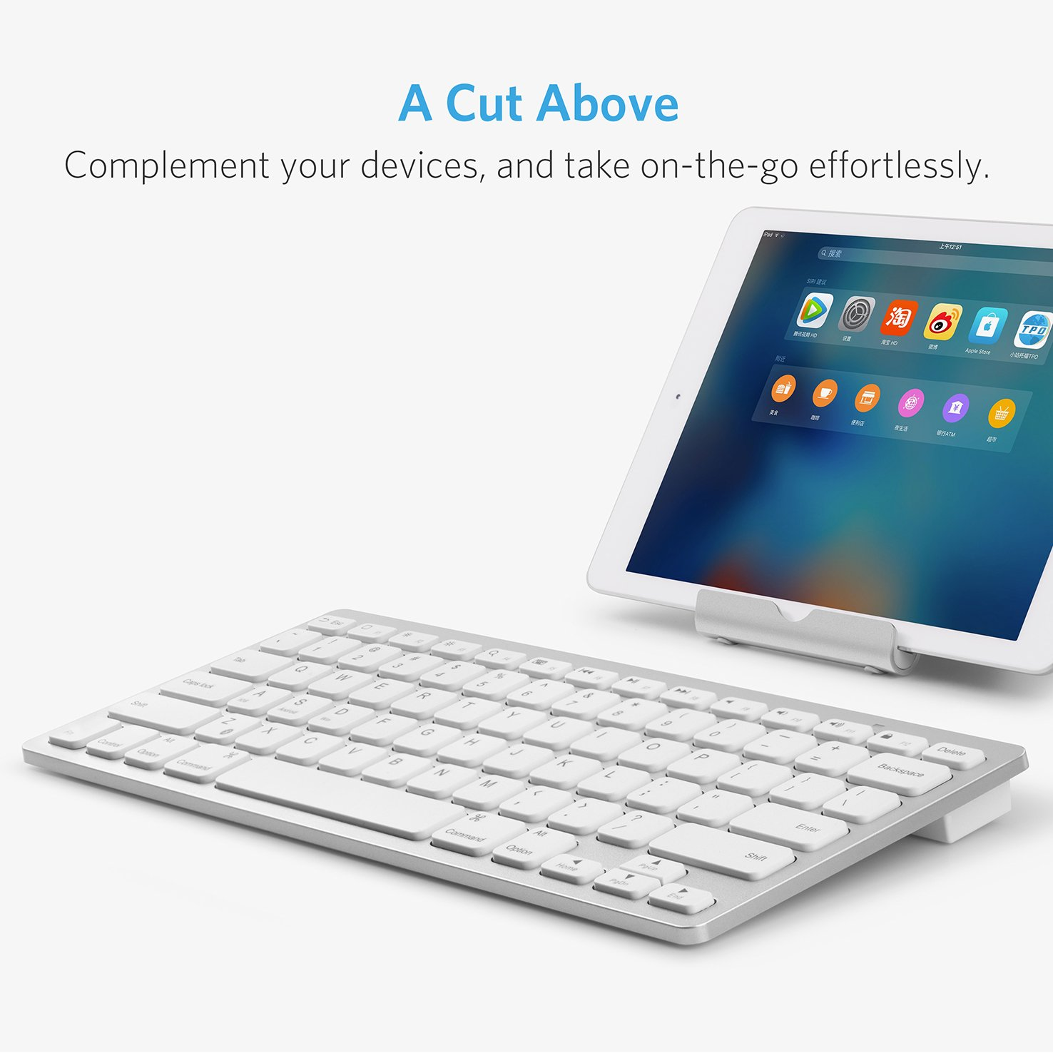 Anker Bluetooth Ultra-Slim Keyboard for iPad Air 2 / Air, iPad Pro, iPad mini 4 / 3 / 2 / 1, iPad 4 / 3 / 2 , New iPad 9.7''(2018/ 2017), Galaxy Tabs and Other Mobile Devices (White) by Anker (Image #2)