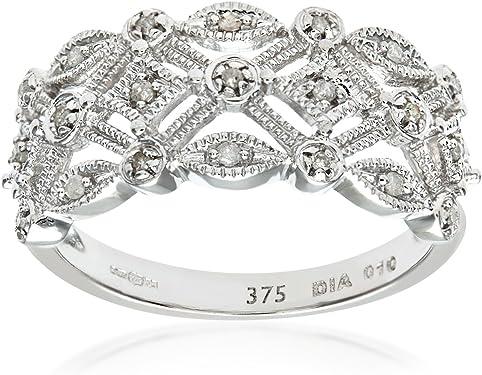 anillo oro blanco y diamantes blancos en forma de diadema