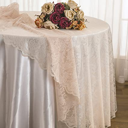 Merveilleux Wedding Linens Inc. 108 Inch Lace Table Overlays, Lace Tablecloths Round,  Lace Table