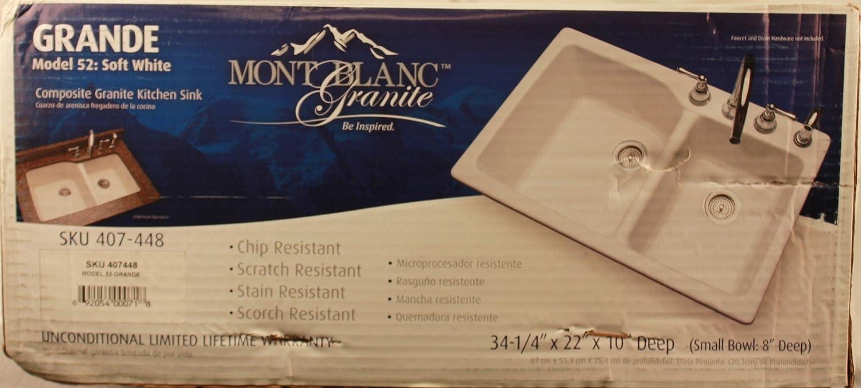 Mont Blanc Grande Drop In Composite Granite 4 Hole Double Bowl Kitchen Sink White Amazon Com