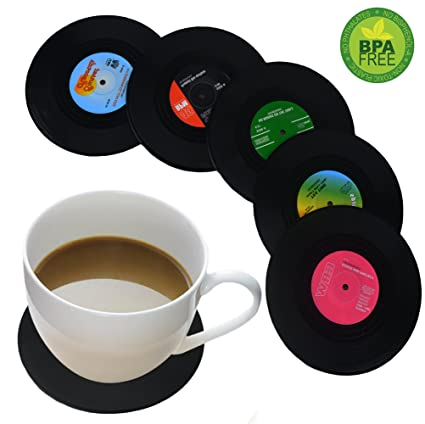 Coasters for Drinks by HIRUN - Set of 6 Vinyl Record Retro Music Coasters - Art  sc 1 st  Amazon.com : table coasters for drinks - pezcame.com