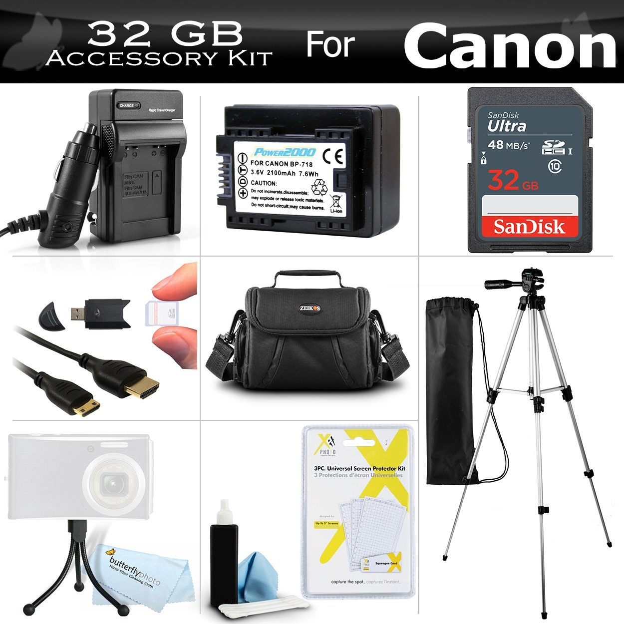 32GB Accessory Kit For Canon VIXIA HF R82, HF R80, HF R800, HF R700, HF R72, HF R70 Digital Camcorder Includes 32GB High Speed SD Memory Card + Replacement BP-718 Battery + Charger + Case + Tripod ++