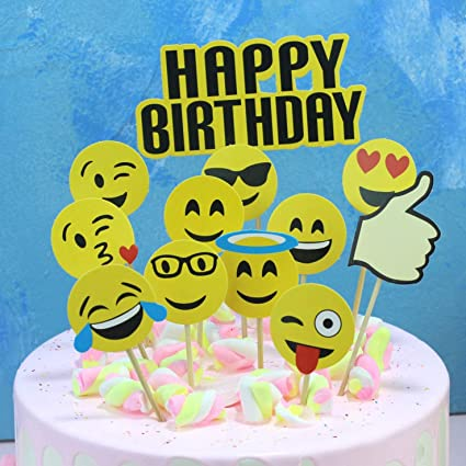 Amazon 24Pcs Cute Emoji Cupcake Topper Cake Decoration Funny