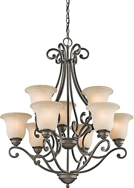 Amazon.com: Kichler 43226OZ Camerena Chandelier 9-Light, Olde Bronze ...