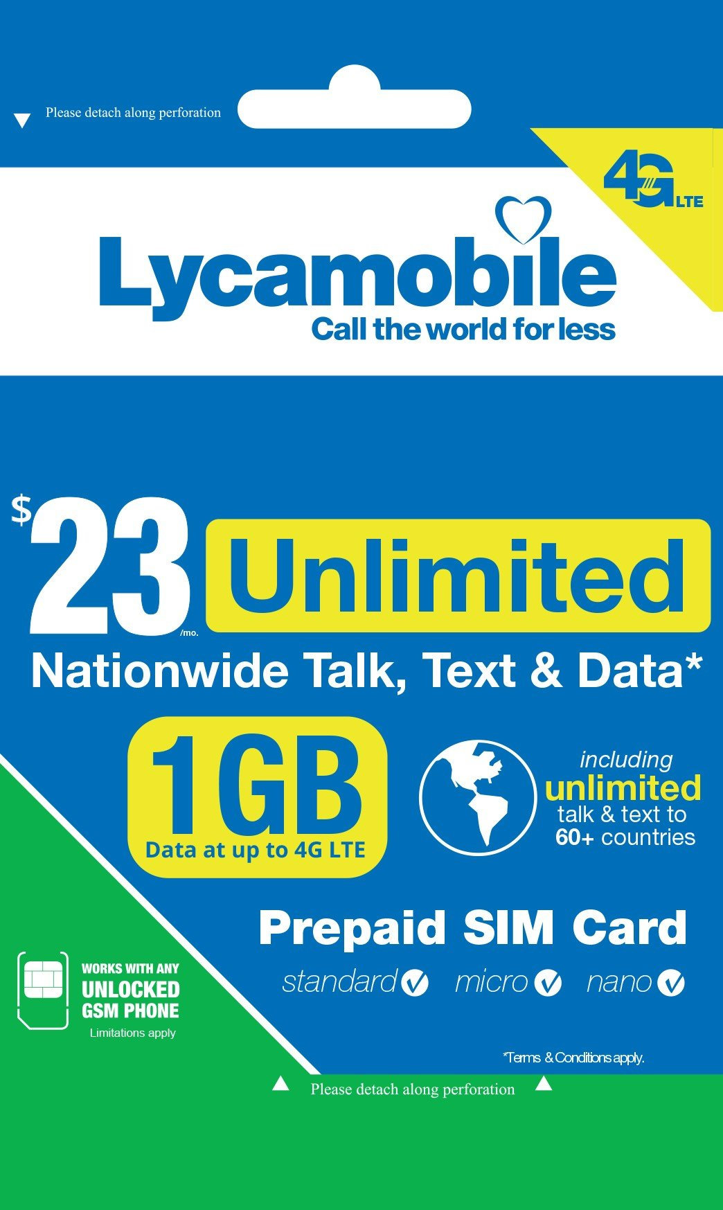 Lycamobile $23 Plan 1st Month Included SIM Card is Triple Cut Unlimited Natl Talk & Text to US and 60+ Countries 1GB Of 4G LTE by Spartan Technologies