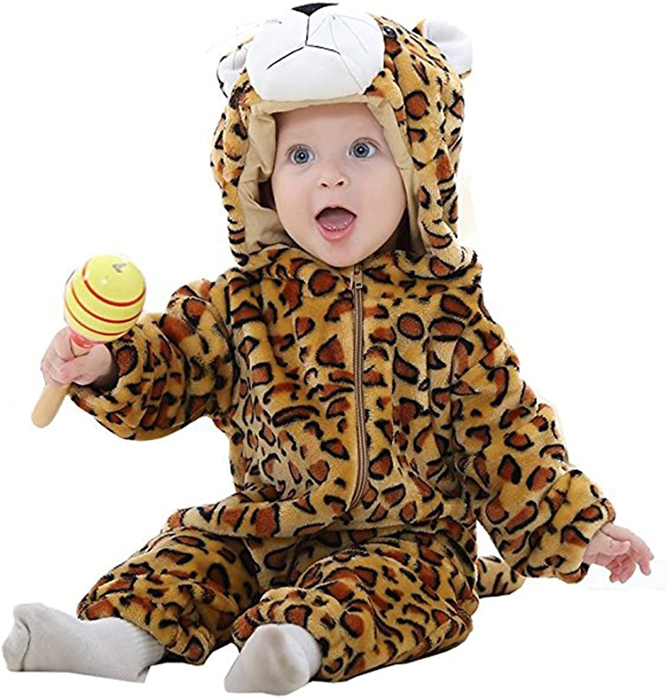 MICHLEY Bebé Ropa Mameluco Niños Niñas Pelele Pijama de Primavera y otoño Franela Traje de Animales