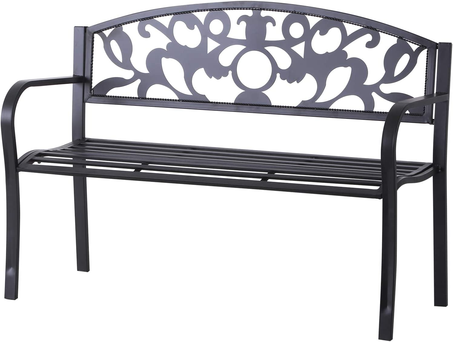 Outsunny 2 Seater Outdoor Patio Garden Metal Bench Park Yard Furniture Porch Chair Seat Black 128L x 91H x 50W cm