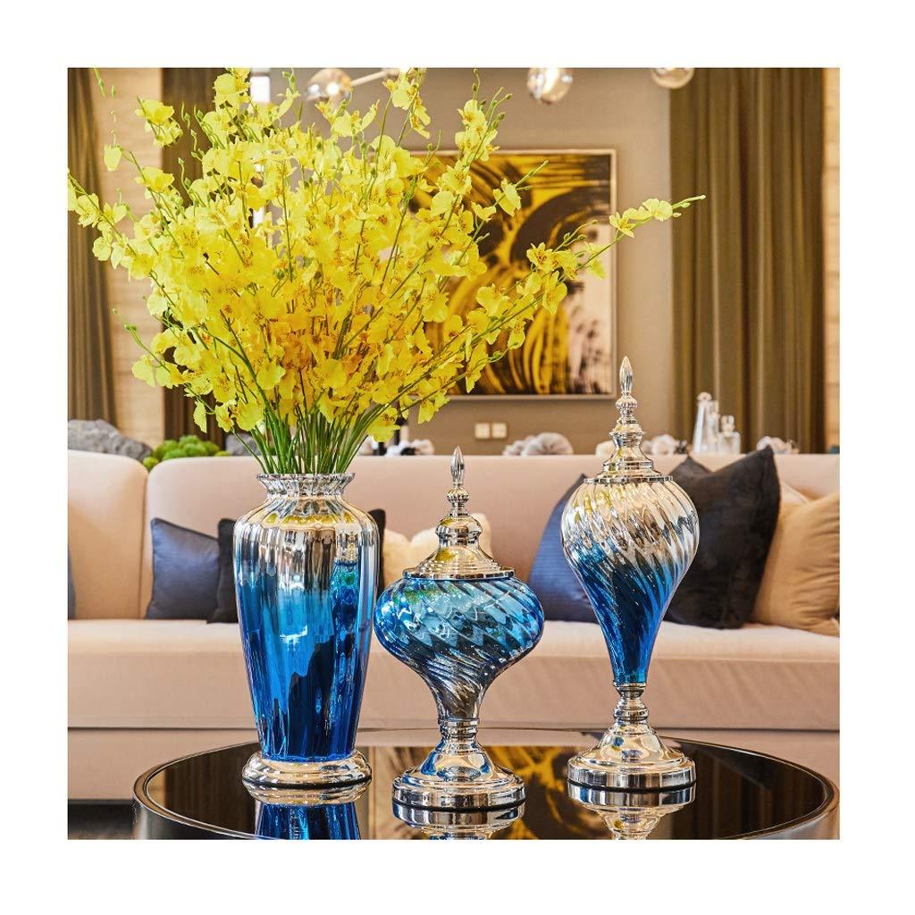 ガラス花瓶 ドライフラワーとライトブルーグラデーションセット(3個セット) B07T27TFCR