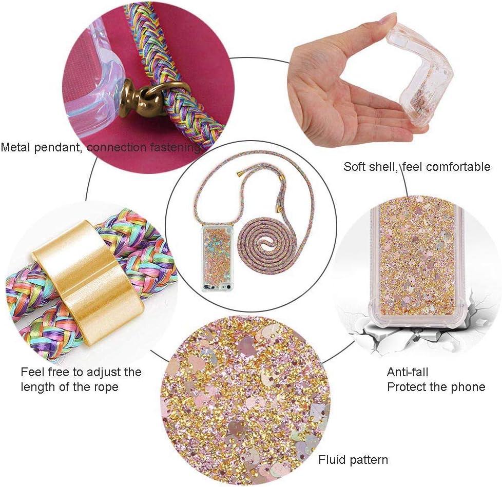 YuhooTech Handykette Kompatibel mit iPhone 5 SE Smartphone Necklace Case Band Gradient Quicksand Cover 5S Glitzer H/ülle Fl/üssig Bewegende Treibsand Transparent Handyh/ülle