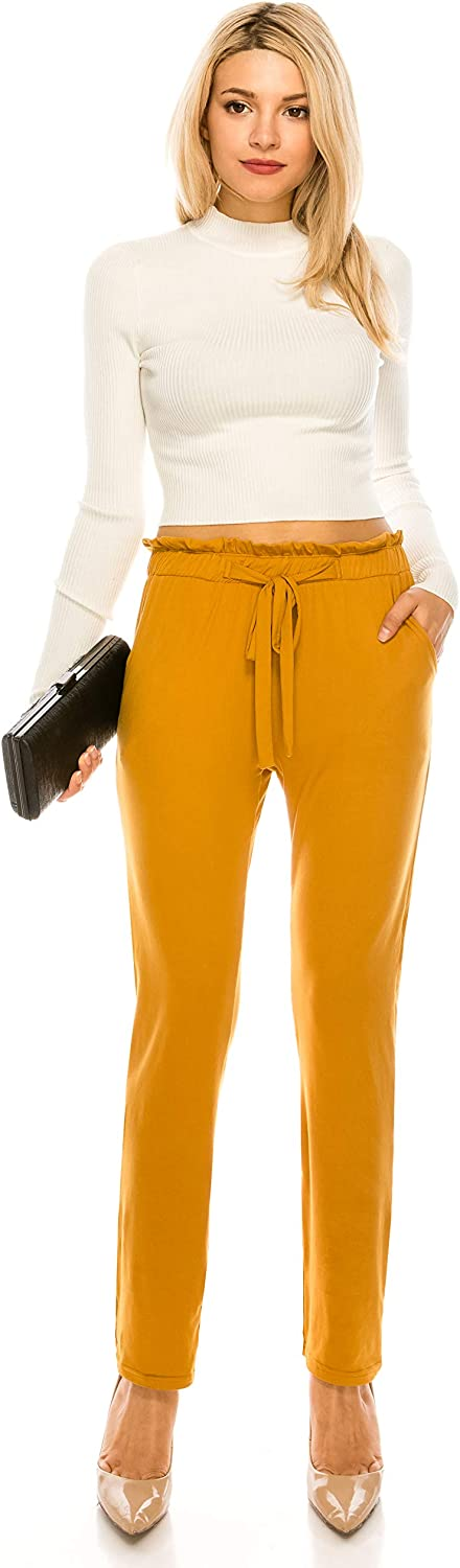 ALWAYS Women High Waisted Pants Jersey Soft Stretch Drawstrings Pockets Trousers Harem Joggers