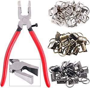 "Swpeet 36 Sets 1"" 25mm 3 Colors Key Fob Hardware with 1Pcs Key Fob Pliers, Glass Running Pliers Tools with Curved Jaws, Studio Running Pliers Attach Rubber Tips Perfect for Key Fob Hardware Install"