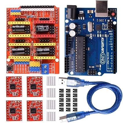 amazon com: kuman cnc shield expansion board v3 0 +uno r3 board + a4988  stepper motor driver with heatsink for arduino kits k75 (cnc shield+uno  r3+stepper