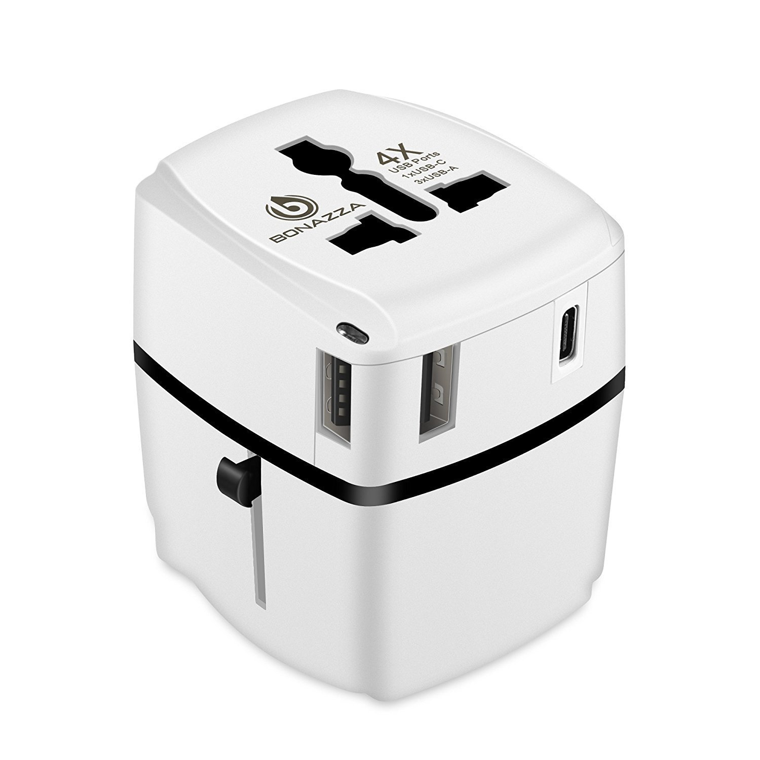 [UL Test Passed] BONAZZA Universal World Travel Adapter w/4 Fast Charging USB Port (3 USB A +1 USB C) International Plugs Adaptor for US, AU, Asia, Europe, UK Compatible Over 150 Countrie