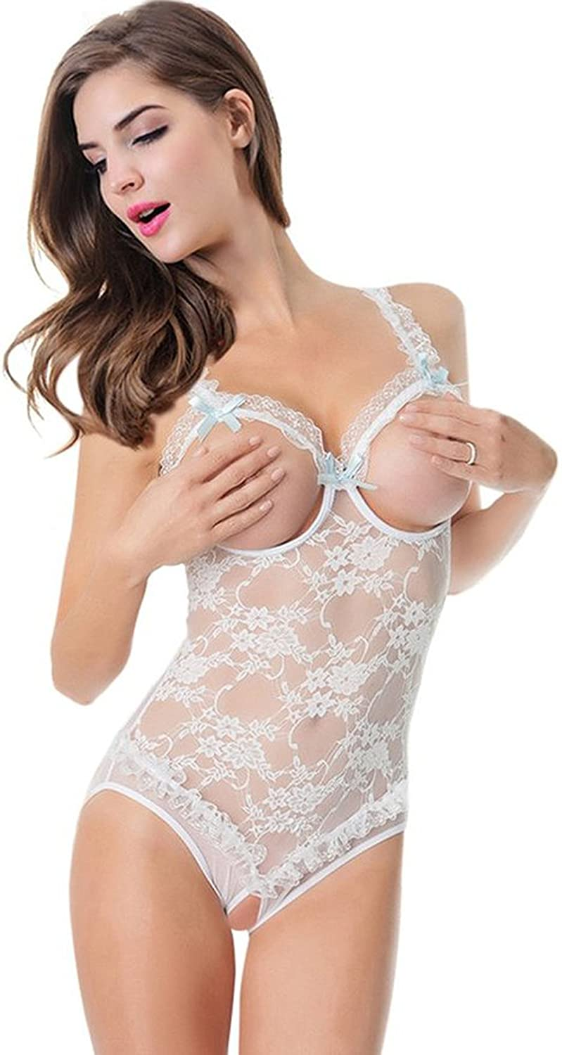 af5aa94951 Queen.M Lace Sling Show Nipples Open Crotch Floral Sexy Lingerie Flirt  Nighty
