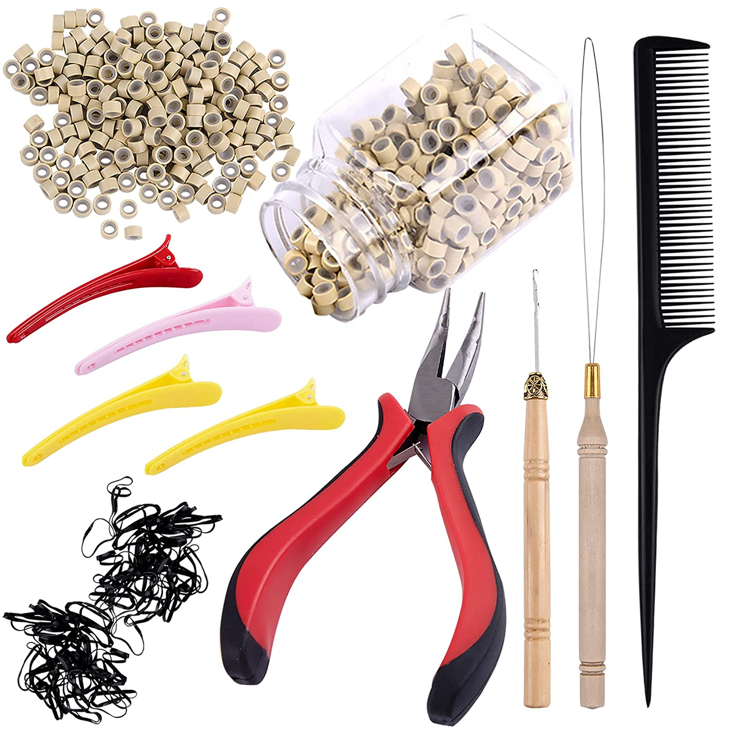 Duufin Hair Extensions Kit 500 Pcs Blonde Micro Ring Beads 1 Micro Beads Plier 2 Hook Needle Pulling Loop 4 Plastic Alligator Hair Clips 1 Comb and 2 Bags Black Mini Rubber Hair Elastic