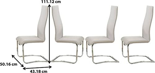 Faux Leather Dining Chairs Chrome and White Set of 4