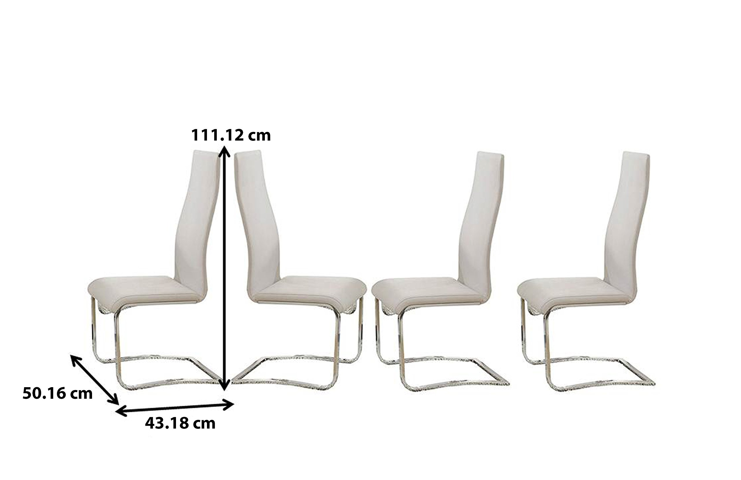 Faux Leather Dining Chairs Chrome and White (Set of 4) by Coaster Home Furnishings (Image #3)