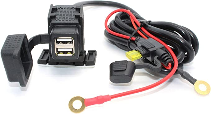 Universal Motorcycle SAE to USB Dual Port Charger+LED Voltmeter Cable Adapter CN