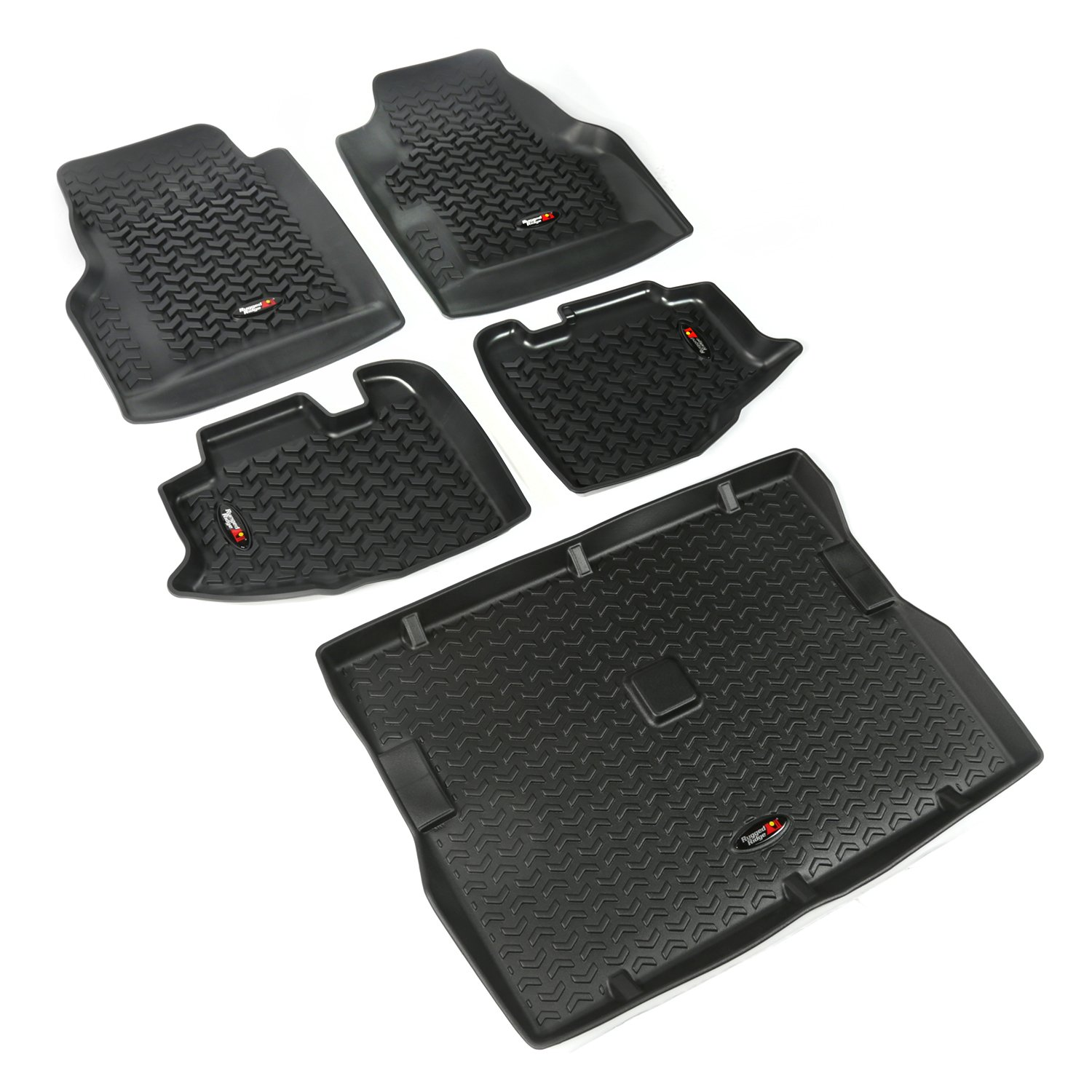 Rugged Ridge 12988.10 Black All-Terrain Front and Rear Floor Liner Kit - 5 Pieces