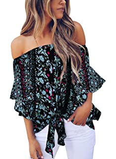 9435898b147 Blanycool Womens Off Shoulder Floral Tops Tie Front High Low Long Sleeve  Chiffon Blouse T Shirts