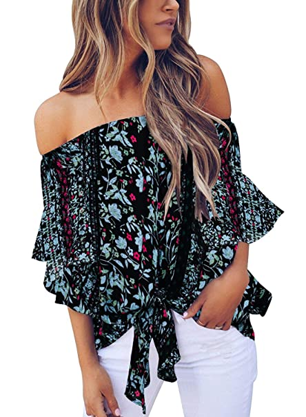 ffcdea0c1176b Bigyonger Womens Off Shoulder Tunic Blouse Floral Boho Ruffle Sleeve Tie  Knot Beach Shirt Tops Black
