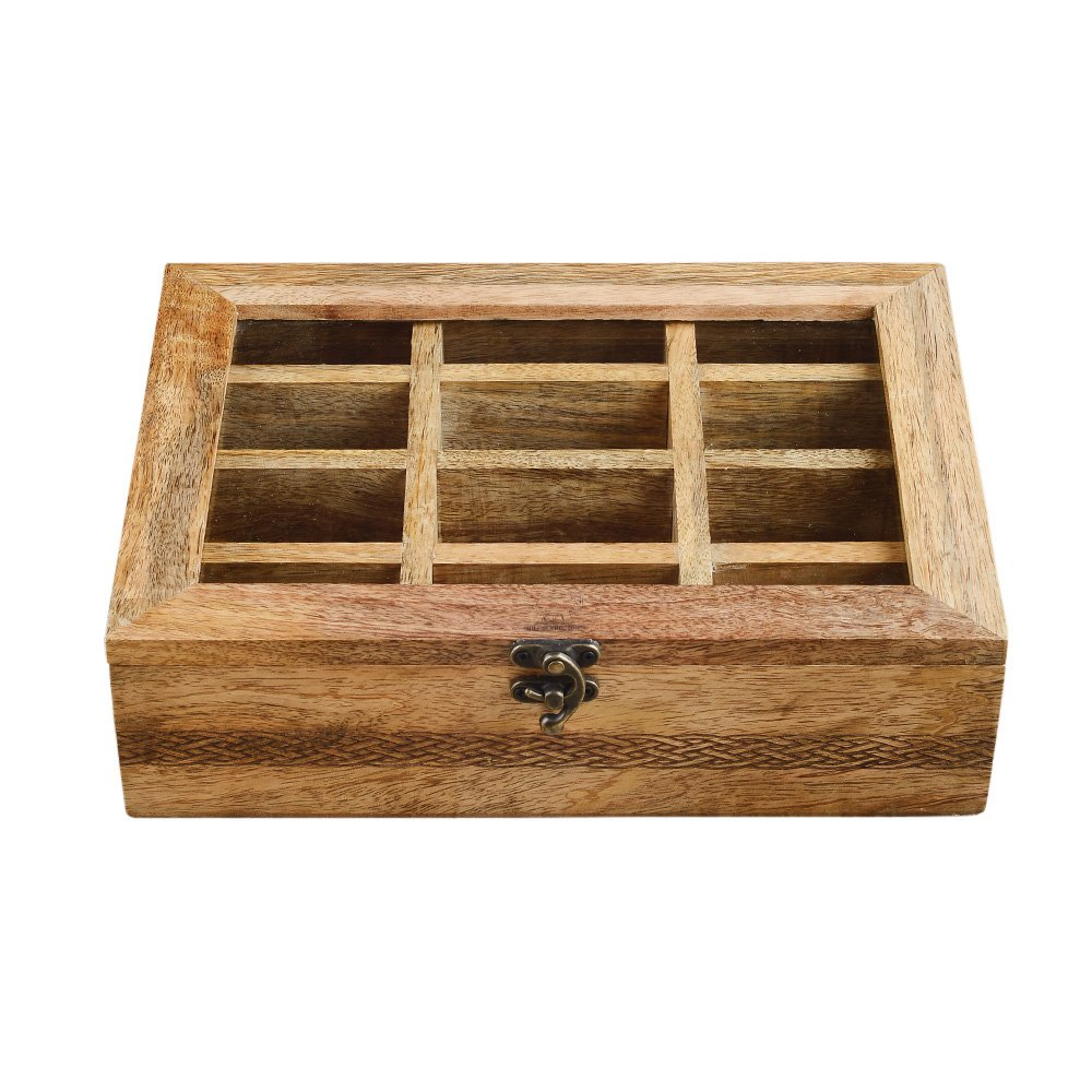Rusticity Wooden Tea Box / Spice Organizer with Transparent Lid - 8 Slots | Handmade | (8x7.5 in)