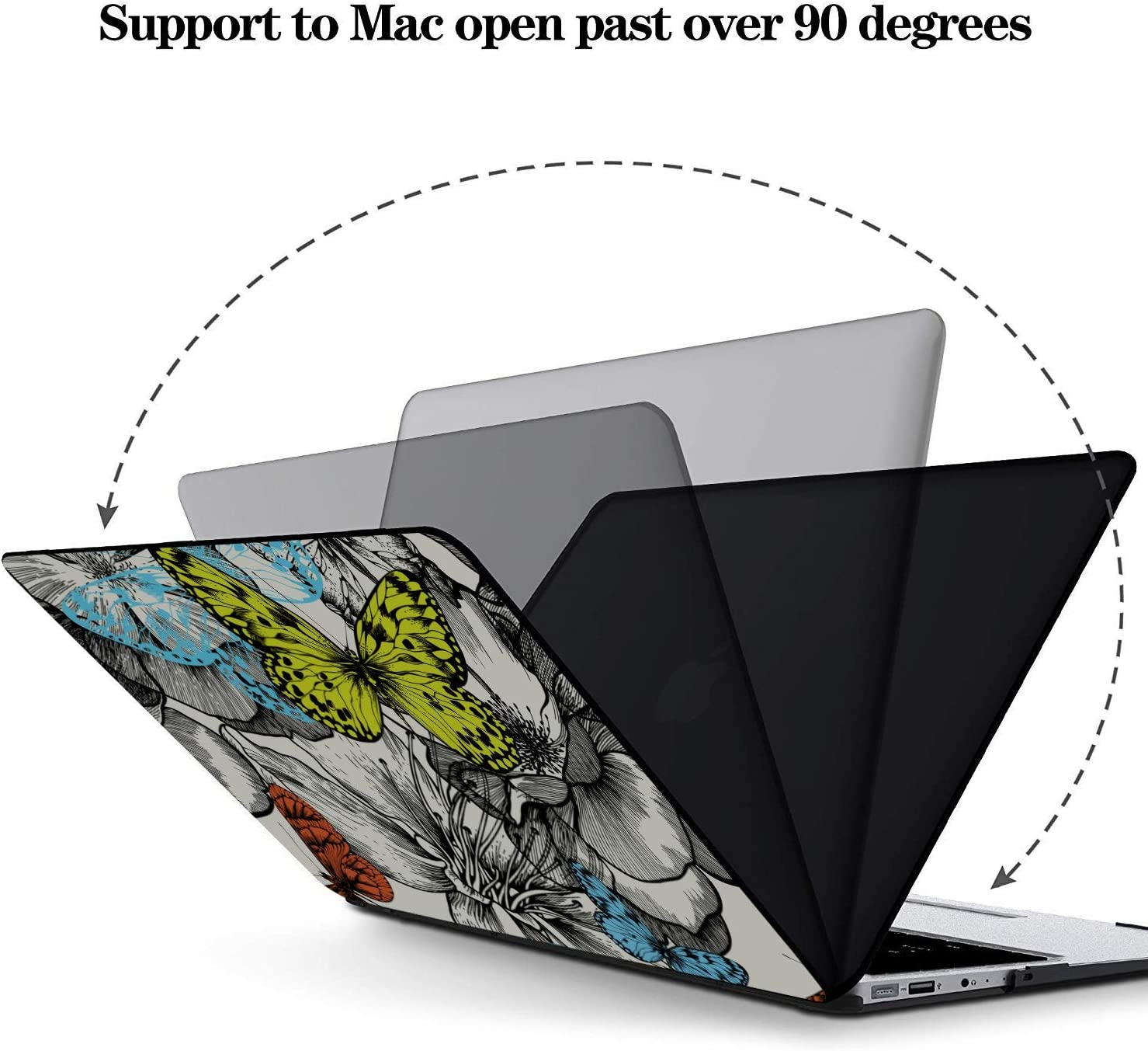 Mac Air Case Spring Cute Butterfly Bee Flower Plastic Hard Shell Compatible Mac Air 11 Pro 13 15 MacBook Accessories Protection for MacBook 2016-2019 Version