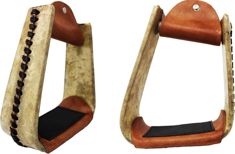 Horse Western Saddle Rawhide Leather Covered Angled Roper Stirrups 51174V