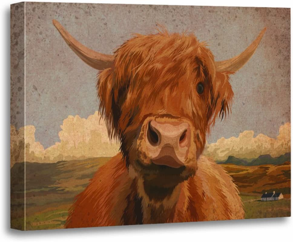 TORASS Canvas Wall Art Print Scotland Highland Cow Scottish Digital Croft Countryside Artwork for Home Decor 16